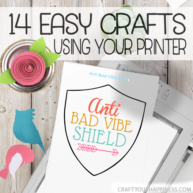 We've got 14 unique and awesome easy crafts and projects you can do with your home printer! Kids and adults alike will love them! Includes free printables.