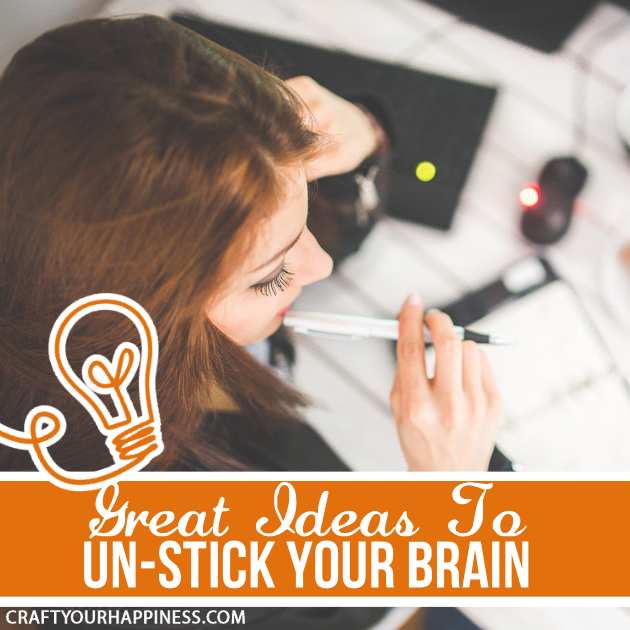 Much of life requires creativity whether it's for work, home or play. For those times when you get creative block here are some ideas to help un-stick you!