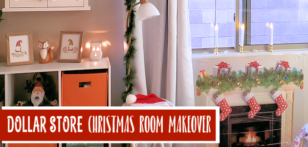 "Transform any room using our budget Christmas decorating room makeover ideas using ""mostly"" items from the dollar store! Includes awesome projects!"
