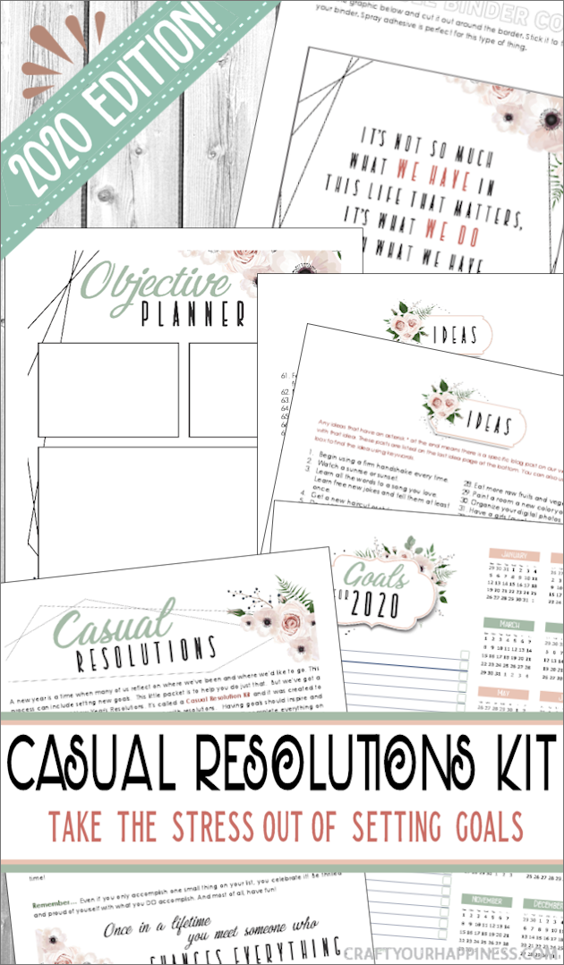 It's 2020 and goal setting has never been easier! This is our 5th edition of our free & popular Casual Resolutions Kit with new ideas, theme and quotations!