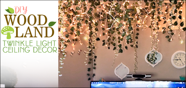 DIY Woodland Twinkle Light Ceiling Decor