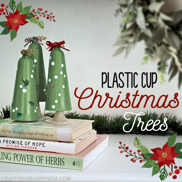 Looking for a simple DIY holiday craft? Make these plastic cup Christmas tree tabletop decor with champaign flutes from the dollar store!