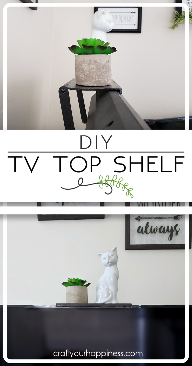 Check out our DIY TV top shelf made from paint sticks. This shelf sits on the top of your TV or monitor and can hold lightweight items!